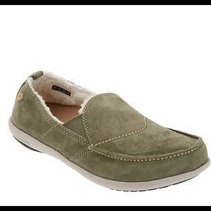 Spenco Orthotic Suede Slip-On Shoes - Olive Green